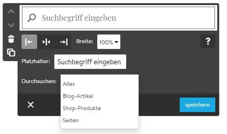Screenshot Jimdo Creator Suchfeld-Feature