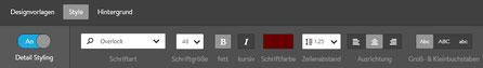 Screenshot Jimdo Creator Stylingfunktion