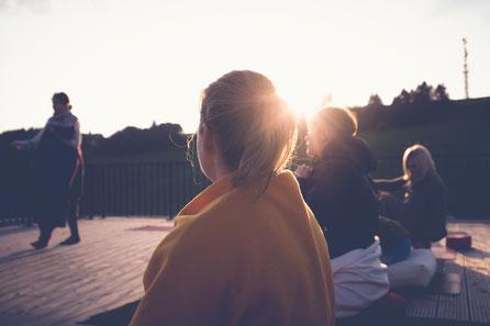 Yoga auf der Dachterasse