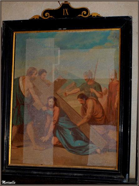 """Tableau représentant """"Le Christ tombant sous la croix"""" (tableau IX du Chemin de Croix), église Saint Pierre de Mons à Belin-Beliet (Gironde)"""