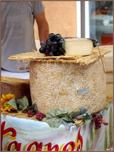 Marché de Provence, mardi matin à Vaison-la-Romaine, Haut Vaucluse (84), étal de fromages, fabrication artisanale