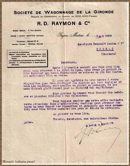 Gujan-Mestras autrefois : lettre dactylographiée en 1919 de la Société de Wagonnage de la Gironde, Usine de Gujan-Mestras, Bassin d'Arcachon (collection privée)