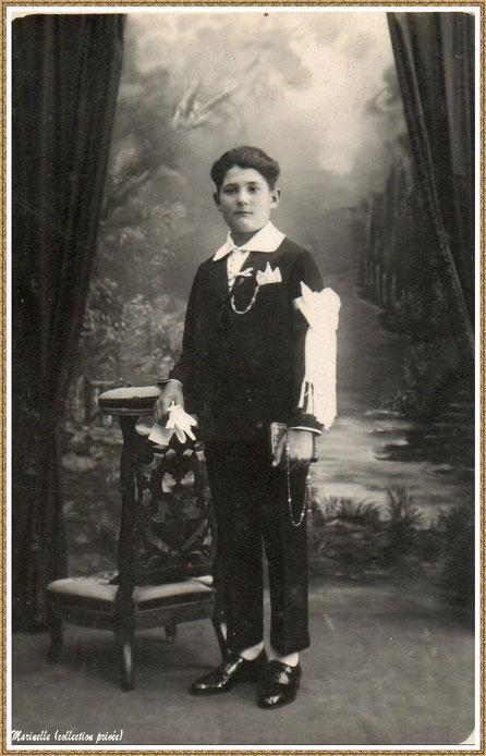 Gujan-Mestras autrefois : Communiant en 1928 (mon parain, Etienne Pédemounou, frère de mon grand-père maternel), Bassin d'Arcachon (photo de famille, collection privée)