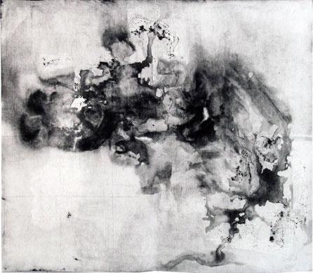 o.T. (Vierteilige Serie IV), 2015, 73 x 97 cm gefaltete Radierung, offene Ätzung