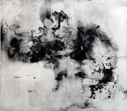 o.T. (Vierteilige Serie II), 2015, 73 x 97 cm gefaltete Radierung, offene Ätzung