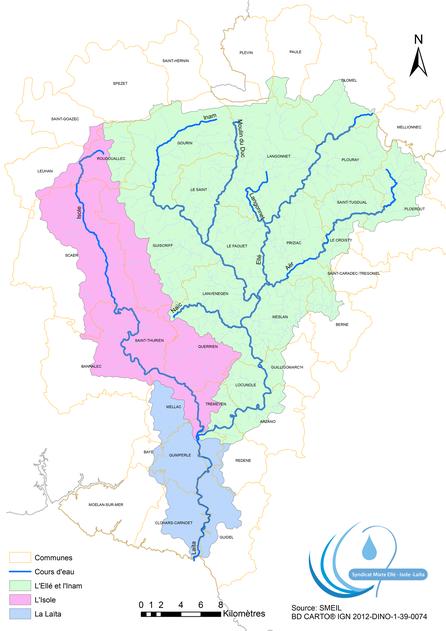 Les principaux cours d'eau du BV Ellé-Isole-Laïta