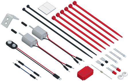 Die Komponenten vom varikabi Roboterbausatz (Farbe: rot)