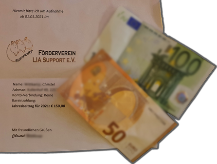 Hinweis: Unser jährlicher Mitgliedsbeitrag beträgt nur 60 €