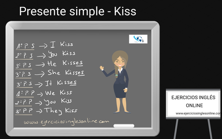 Presente simple en inglés - conjugación - verbo kiss