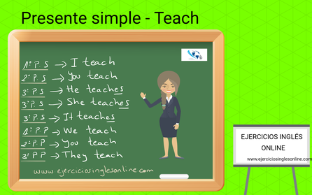 Presente simple en inglés - Conjugación - Verbo Teach