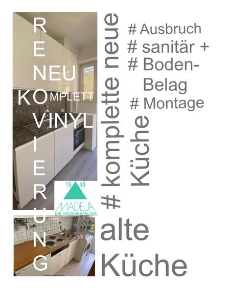 IKEA Neue Küche Hochglanz weiß mit Vinylbodenbelag vorher Küche mit Fliesenspiegel