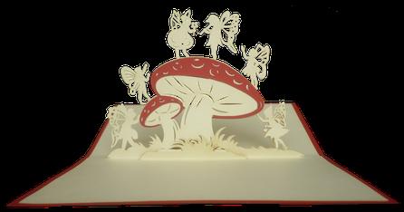 Carte kirigami Lutins autour d'un champignon
