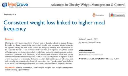 Virtual Personal Trainer's consistent weight loss linked to higher meal frequency