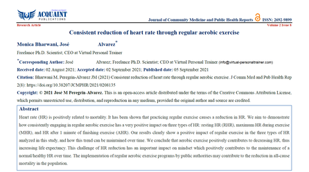 Virtual Personal Trainer's latest publication: Consistent heart rate reduction by regular exercise