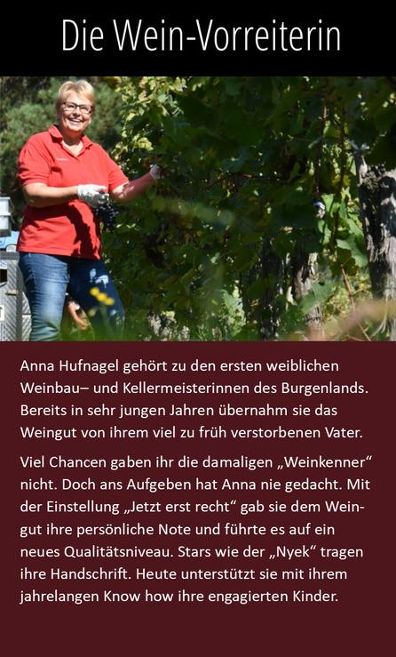 Anna Hufnagel gehört zu den ersten weiblichen Weinbau-und Kellermeisterinnen des Burgenlands.