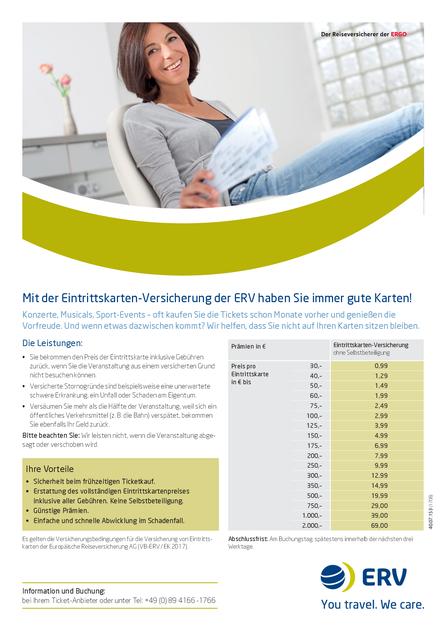 Preisübersicht Ticketversicherung und Eintrittskarten-Versicherung der ERV 2017