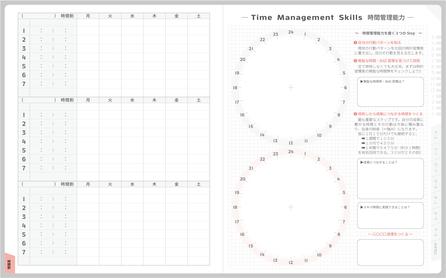 中学生・高校生向けのスケジュール手帳(自己管理手帳)であるACTIO手帳では、中高生の学生が時間意識を持って時間管理できるような特殊なページを用意している。