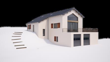 rendu 3d maison etage Ardèche