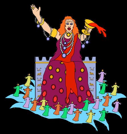 Babylone la grande est assise sur les grandes eaux symboliques car portée par les multitudes composées de nombreux peuples, foules, nations, tribus et langues. Les religions reçoivent des peuples un soutien financier important, le respect, l'obéissance.