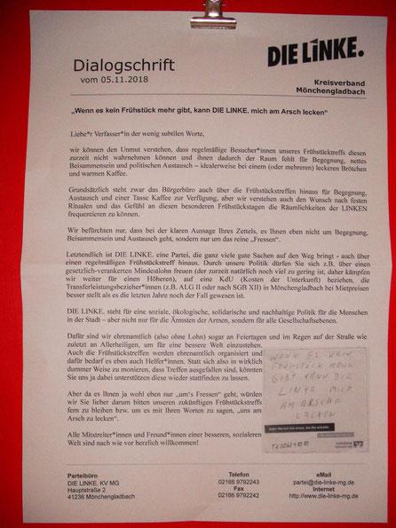 Dialogschrift, Partei Die Linke, Kreisverband Mönchengladbach