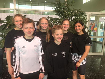 Auf dem Bild von Links nach Rechts:  Sophie Hain, Mika Mertins, Lara Mertins, Felix Hell, Finja Hell und Sidelya Cebe. Foto: ASCD
