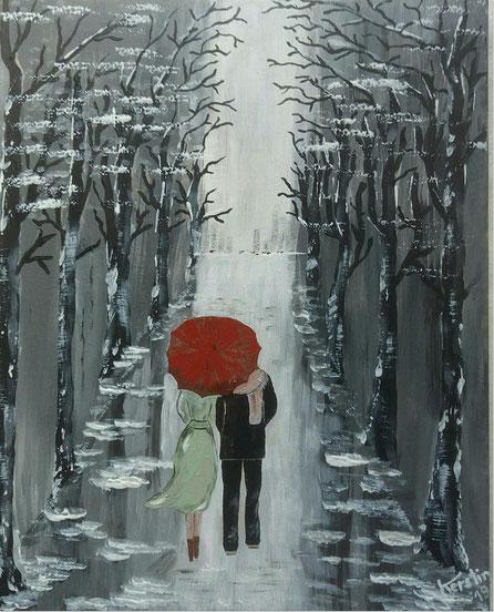 Gemälde Acryl Allee Regen Spätherbst Regenschirm Skyline