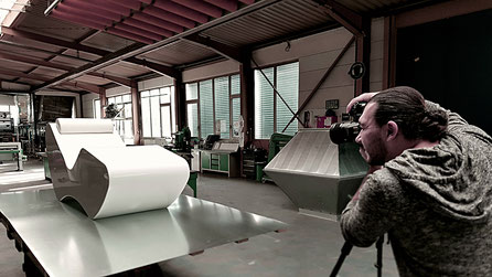 Shooting XPS Coatings by pilzdesign mit einem weißen Lounger by pilzdesign