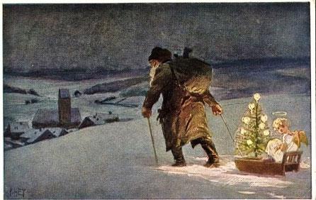 Knecht Ruprecht unterwegs mit einem Engel