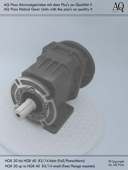 Getriebe » Stirnradgetriebe » Stirnradgetriebe ohne Motor » B3/14 kl Fuß/Flansch-Form