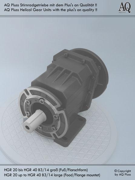 Getriebe » Stirnradgetriebe » Stirnradgetriebe ohne Motor » B3/14 gr Fuß/Flansch-Form