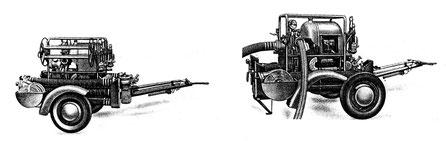 Tragkraftspritzenanhänger in offener Ausführung (Fahrstellung - Betriebsstellung)