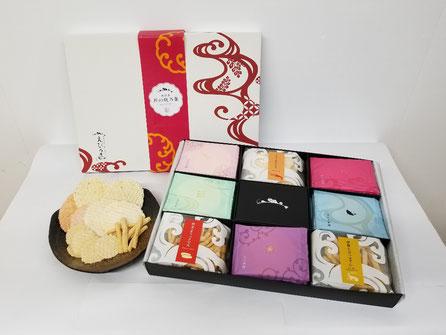 愛知県のえびせんべいの中でも、贈答用におすすめな、『匠の帆乃菓KTHP』です。えびせんべい5種類とスティック、小丸せんべいを詰め合わせました。