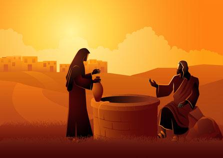 Brunnen waren i biblischen Zeiten oft Gegenstand von Streit, aber auch von Begegnungen wie hier von Jesus und der Samaritanerin