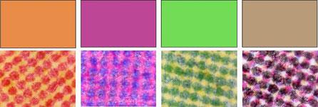 Observations au microscope d'impressions orange, violet, jaune-vert et brun