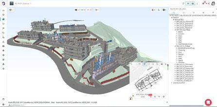 Plataforma Bimsync: Imagen del Proyecto Quercus con menú Navegación abierto