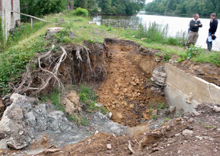 Etang de la Neuve Forge après le passage de la crue du 7 janvier 2011