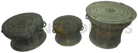 Fig. 12. GNM From left to right three Guangxi drums from different periods. MING period - 14 rays star – 40D/H30 cm /SONG period - 12 rays star 30D/H20 cm/ QING period - 8 rays star – 50D/H40 cm (Heger III type, linked with Burma or burmese?)