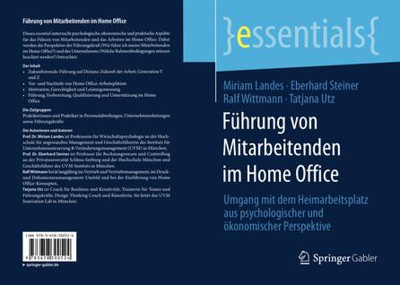 Führung, Home Office, Springer Verlag, Publikation, Buch, Tatjana Utz, Miriam Landes, Eberhard Steiner, Ralf Wittmann, Remote Work