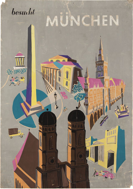 Poster. Visit Munich (Bavaria) by Heinz Traimer 1950s.