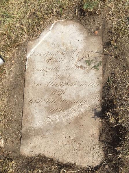 Diesen alten Grabstein haben Parchener Heimatvereins-Mitglieder im Schatten der Bockwindmühle entdeckt. Foto: Alpha-Report