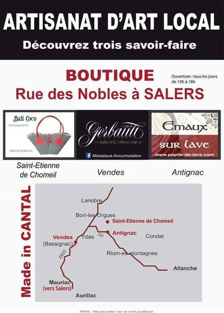 Boutique d'artisanat d'art rue des Nobles à Salers