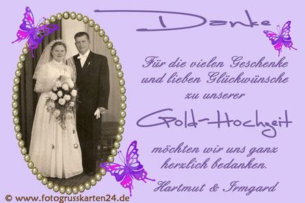 Goldhochzeit Danksagungskarten goldene Hochzeit Dankeskarten