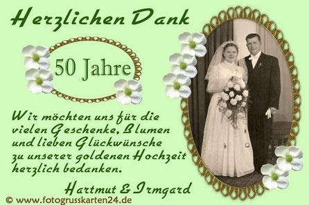 50 Jahre verheiratet goldene Hochzeit Danksagungskarten Dankeskarten