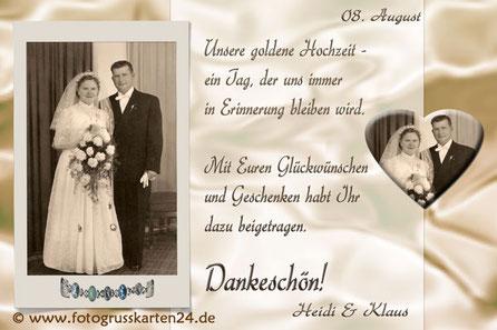 Dankeskarten zur Goldhochzeit Danksagung goldene Hochzeit