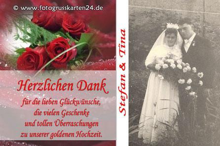herzlichen Dank zur goldenen Hochzeit Danksagungskarten