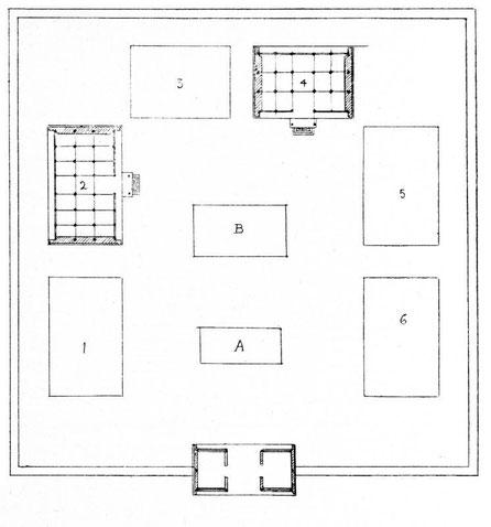 Plan général d'un grenier public. LU Lien-tching : Les greniers publics de prévoyance sous la dynastie des Ts'ing. Jouve & Cie, Paris, 1932.