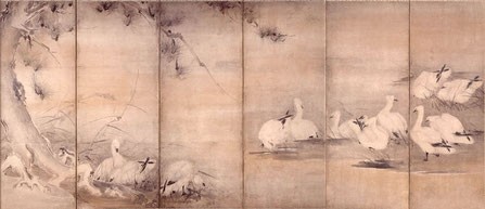 Paravent - Sumi-e attribué à Musashi Miyamoto