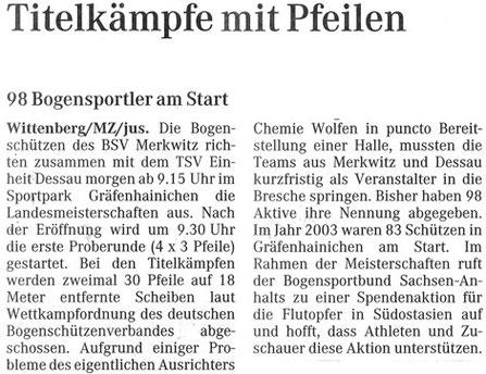 Artikel - LM FITA-Halle in Gräfenhainichen 2005