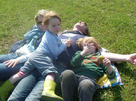 Das sind wir: Sandra, Lisbeth, Oliver und Stig
