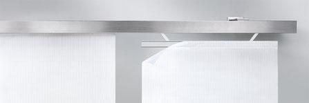 Flächenvorhang mit absenkbaren Paneelwagen, Design Flächenvorhang, interstil, mhz,  moderne Flächenvorhänge von Lamellen Junker